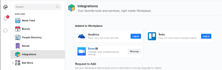 workplace by facebook integration list